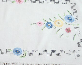 Vintage Trim or Linen Embroidered Floral Table Runner Dresser Scarf