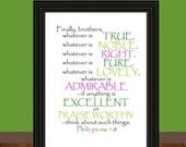 Whatever is True Art Prints - Philippians 4:8 - Printable Artwork PDF