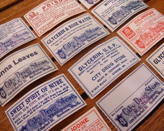 vintage pharmacy labels - chemist medical apothecary - 12 gummed pharmacy labels