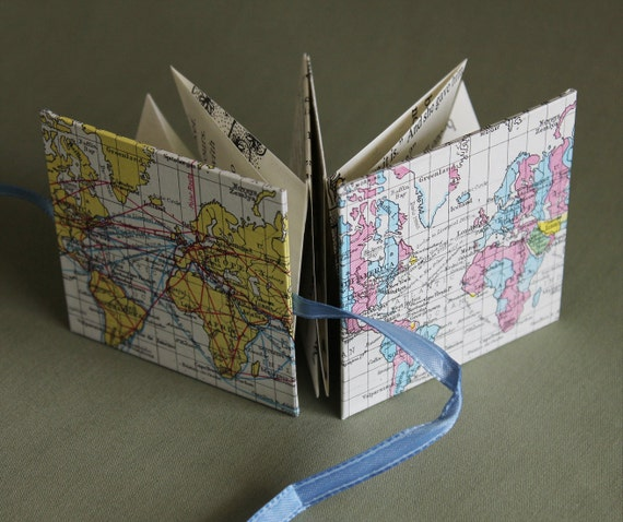 SALE Around the World Recycled Map Mini Accordion Book or Card by PrairiePeasant