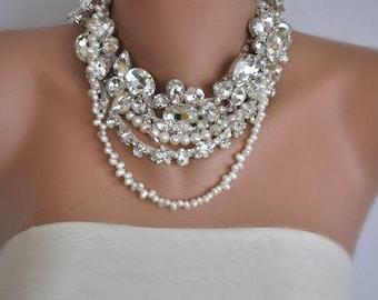 Bridal Rhinestone Necklace, Bridal Statement Necklace, Bridal Jewelry,Wedding Necklace,Pearl Bridal Necklace, Rhinestone Bridal Necklace