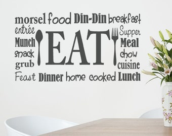 Kitchen Wall  Decal Eat Sign Lettering with spoon and fork subway art collage wordle Vinyl Sticker words