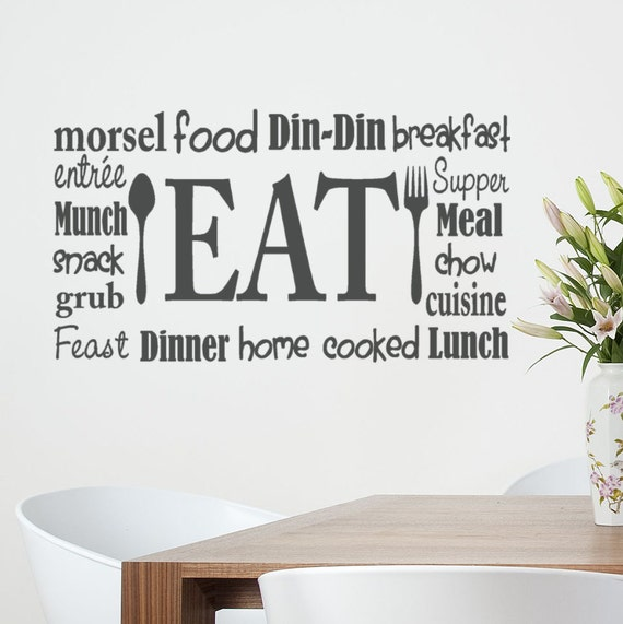 Word Wall Art Vinyl Lettering Home Decor ~ Kitchen wall decal eat sign vinyl lettering fork and