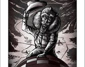 "Dr. Strangemonk-  11"" x14"" Monkey From Dr. Strangelove- Whimiscal Monkey Art"