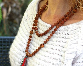 Rudraksha Mala Necklace with Buddha Charm & Silk Tassel - Handknotted Rudraksha Mala Beads - Rudraksha Rosary Necklace