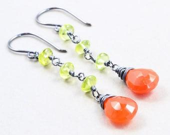 Carnelian Dangle Earrings, Peridot Earrings, Orange Sterling Earrings