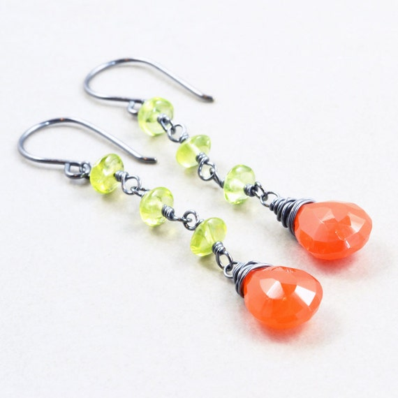 Carnelian Dangle Earrings, Peridot Earrings, Orange Sterling Earrings