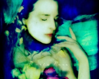 Underwater Faerie, Photographic Portrait of Female Water Fae with Vibrant Colours and Flowers, MerlePace