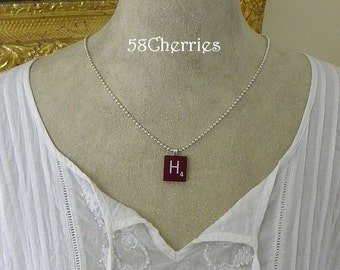"""Mahogany Vintage Scrabble Tile Pendant - """"H"""" - Rare - Silver Plated Chain - Eclectic Steampunk Upcycled Jewelry"""