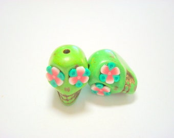 Green and Red Rose Eyes in Small  Day of The Dead Skull Beads-12mm