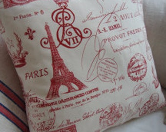 """FRencH CoTTage Pillow/Paris 18"""" Down and Feather/SHaBBy ChiC/ReD TiCKing/Decorative Pillow/Accent Pillow/Natural Linen"""