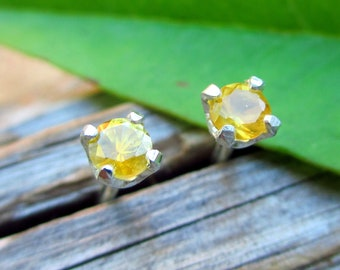 Montana Sapphire Yellow Earrings in Gold, Silver, Platinum, or Palladium with Genuine Gems, 3mm - Free Gift Wrapping