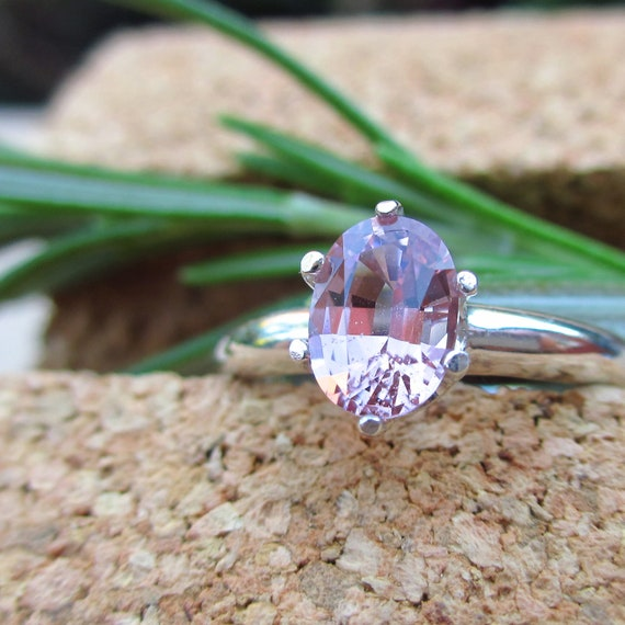 Pink Spinel Ring in Sterling Silver, Oval Cut Gemstone