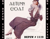 Vintage Sewing Pattern 1930's Winter Coat with Fur in Any Size- PLUS Size Included- Depew 1119 - A Draft at Home Pattern -INSTANT DOWNLOAD-