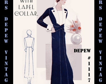 Vintage Sewing Pattern 1930s Dress With Button Trim in Any Size Depew 1117- PLUS Size Included - A Draft at Home Pattern -INSTANT DOWNLOAD-