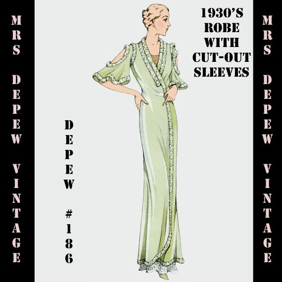 Vintage Sewing Pattern 1930's French Robe Pegnoir with Cutouts in Any Size- PLUS Size Included- Depew 186 -INSTANT DOWNLOAD-