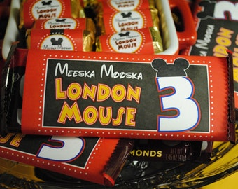 DIGITAL Hershey Bar Candy Label Wrap Inspired by Mickey Mouse Club in Red, Black, Yellow w/ Mouse Ears, Fun Nutrition Info