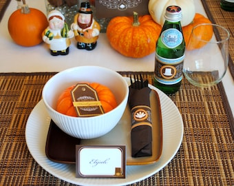 DIGITAL Pick 5 - Sophisticated Thanksgiving Dinner Party Package in Brown, Yellow, Orange, White plus Decorative Details