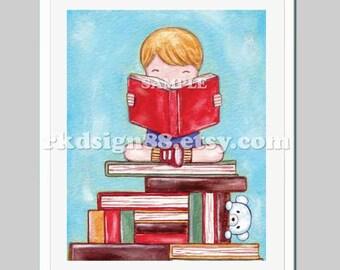Library art print, baby boy nursery decor, playroom decor, kids wall art, children's art, books, blonde Discover, 8x10