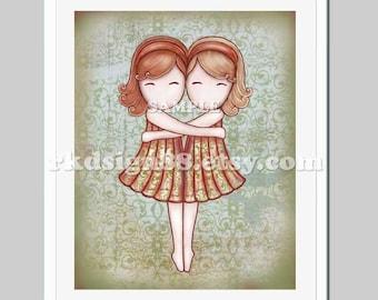 Nursery art print, kids wall art, baby girl nursery decor, two sisters, Gemini, red, blonde, My Lovely Best Friend 8 x10