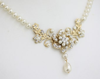 Gold Wedding Necklace Pearl Crystal Bridal Necklace Flower Necklace Swarovski Pearl Necklace Vintage Wedding Jewelry, SABINE CLASSIC