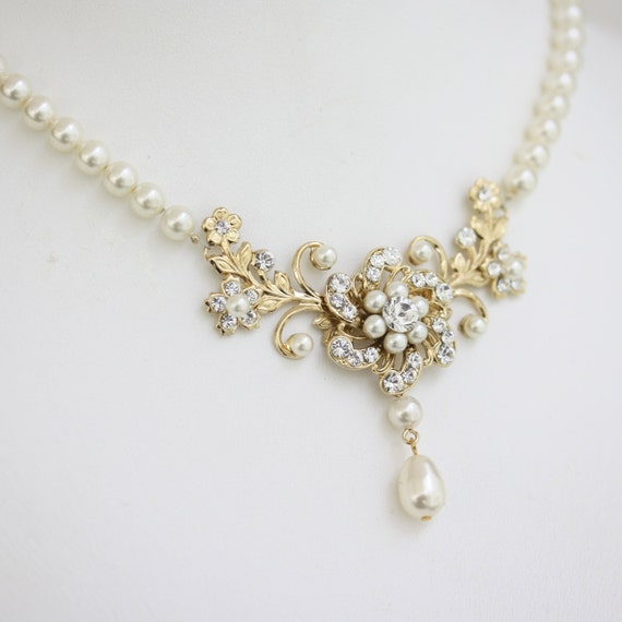 Bridal Necklace Gold Wedding Pearl Crystal Floral