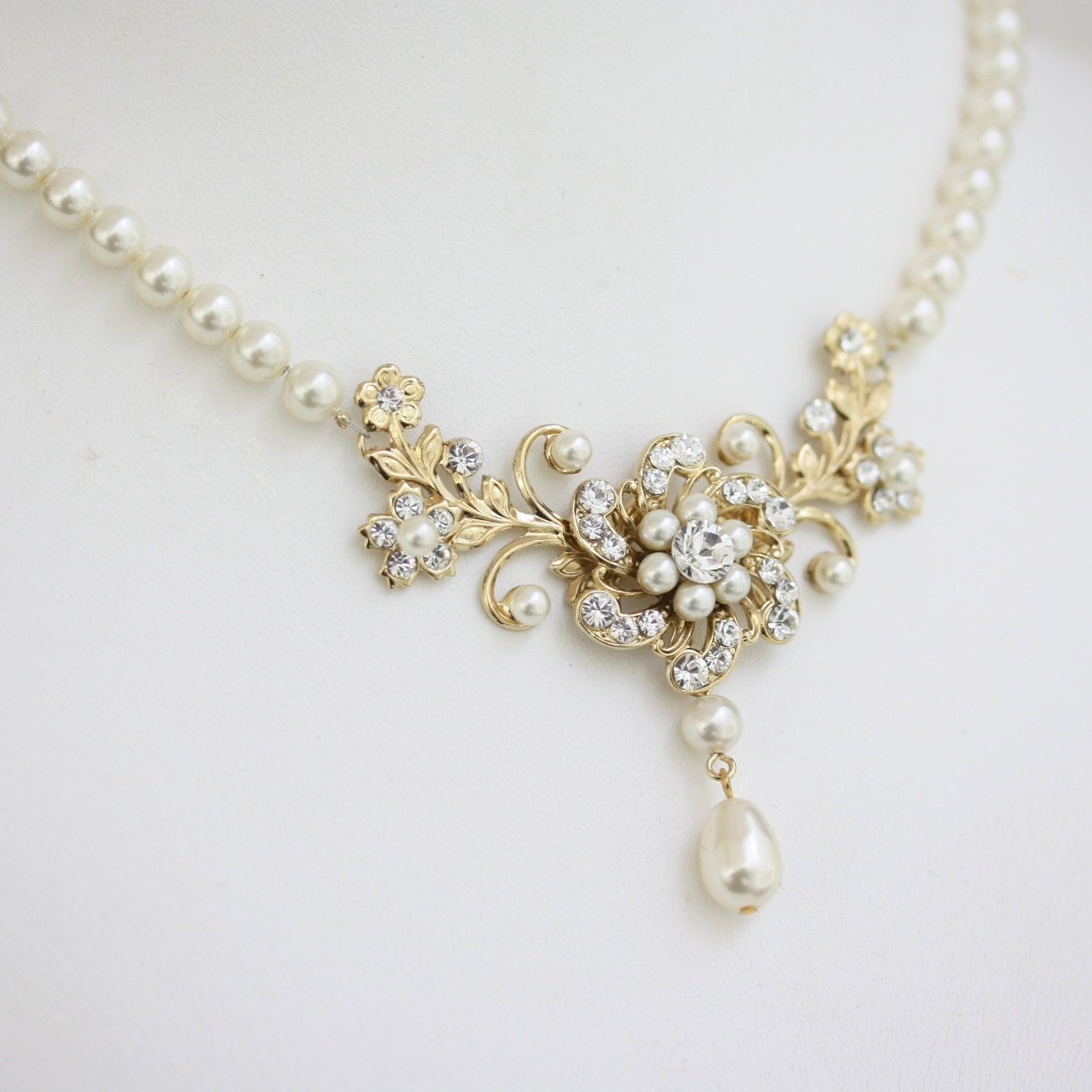 Gold Wedding Necklace Pearl Crystal Bridal Necklace Flower