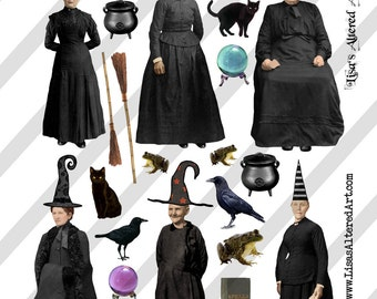 Digital collage sheet vintage Halloween witch images with crazy hats (Sheet no. H25) PNG file available-Instant Download