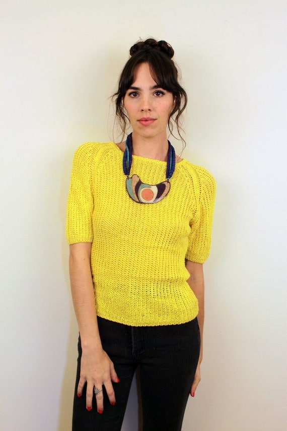 1980s Canary Yellow Knit Top Size S
