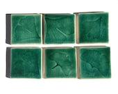 ceramic tile set: Ginkgo leaf design green crackle glaze  handmade pottery -  craftsman inspired - Sale