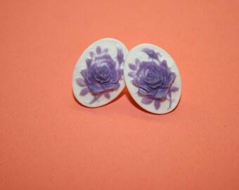 Small Lavender Rose Cameo Earrings