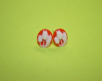 Tiny Red Tulips Cameo Earrings