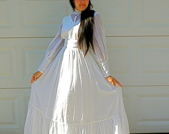 SALE 1970s Vintage Prairie Wedding Dress White Handmade Victorian Style Wedding Dress Lace High Collar with Petticoat Size Extra Small