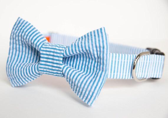 Seersucker Preppy Dog Bow Tie Collar - Your choice of color