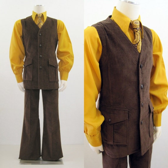 60s 70s Suit Vintage Men's Groovy Brown Corduroy Vest and Pants 42 44 34