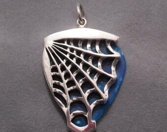 Spider web guitar pick holder pendant - Sterling silver