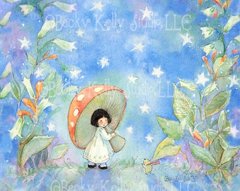 8 X 10 Print, Periwinkle Sky, Whimsical print, Waldorf style, Fairy and a Mushroom Umbrella