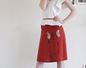 Lovely Design Skirt, Women's Midi Skirts, Burnt Orange Jersey Skirt, Jersey Skirt, Handmade Applique Skirt - Butterfly's office affair