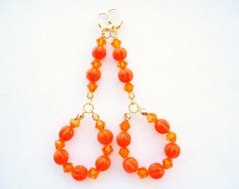 Long Orange Crystal Earrings Sparkling Swarovski Crystals