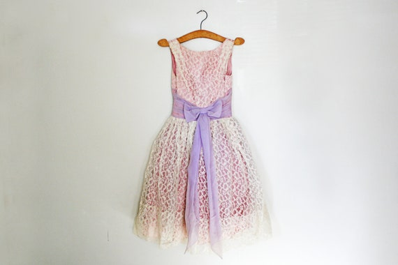 ON HOLD vintage 50s 60s Lavender Dream Floral Lace Party Formal Dress- XS S