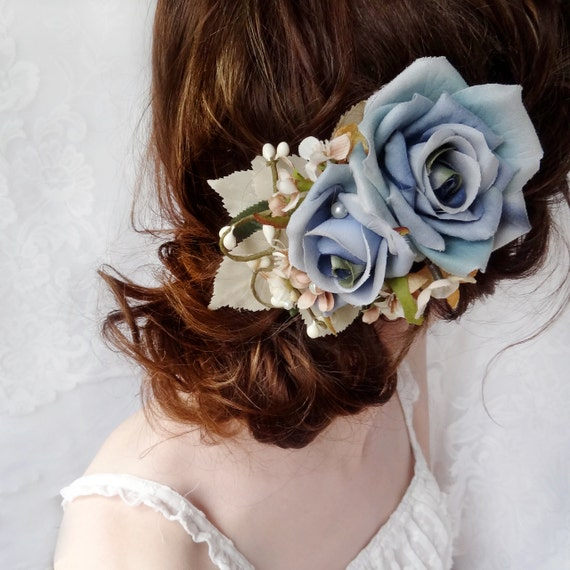 blue flower accessory, rustic wedding hair piece, rose bridal hair clip - GOOSE GIRL - wildflower accessories