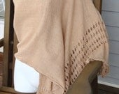 Beautiful drop-stitch design handwoven tea-dyed cotton shawl