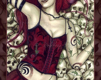 Bed of Skulls PRINT Gothic Fantasy Art Horror Corset Red Hair Ivy Cross Watercolor 3 SIZES