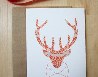 "Orange Reindeer Holiday Card,  Leaf Pattern Card, 5x7"", Reindeer Modeling a Shirt Collar, Handmade"