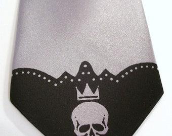 RokGear Skull tipe print - Men's Necktie silver black skull tie