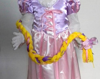 Rapunzel Dress and wig. Size 2-6
