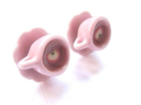 Pink Tea Cup Earrings