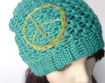 Slouchy Beanie Slouch Hat Womens Hat Peace SIgn Hat Bamboo Wool Hat Slouchy Hat Oversize Hat  Sustainable Hat Winter Hat - MADE TO ORDER