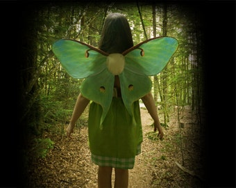 Realistic LUNA MOTH Costume Wings for Halloween, Green Butterfly Wings, Moth Costume