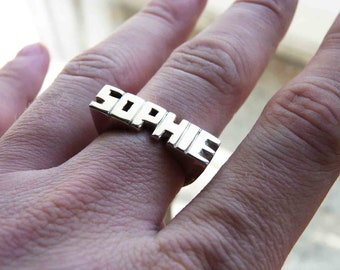 Word Personal Ring, Sterling silver, Signet ring, Name Ring, Initials ring, Monogram Ring, Made to order - 5 or 6 Letters